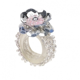 Ring pailletten Jessy zilver (Souza for Kids)